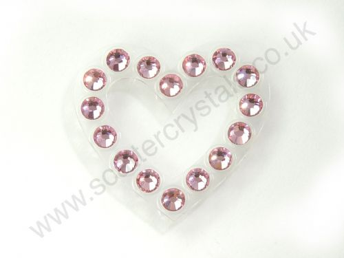 Crystaltex-It Heart Motive. 24 x 22mm, Transparent Base, Light Rose